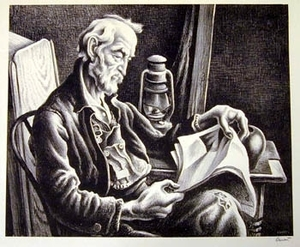 """Old Man Reading"" by Thomas Hart Benton"