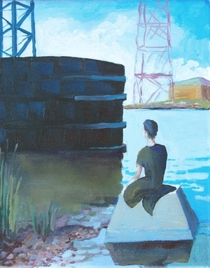 Mer-boy gazes at the industrial canal