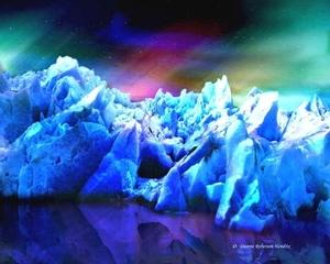 Glacier Under the Northern Lights