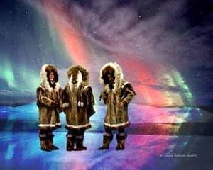 Alaska Native Women under the Northern Lights