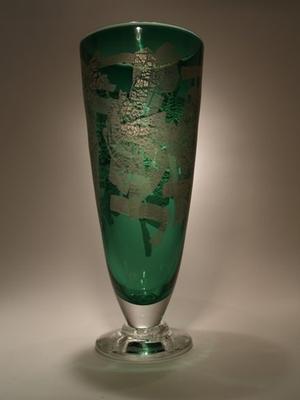 Green Vase with Silverleaf