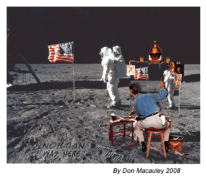 Norman Rockwell painting the Apollo Moon Landing