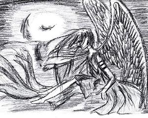 Angel at night