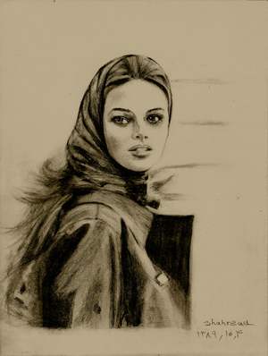 the girl with 'MACINTOSH ' pencil drawing by shahrzad ranji