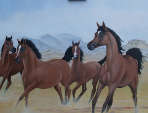 four horses by the Jebel ad Dukhan