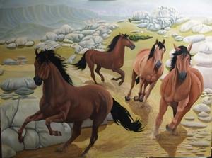 horses running downhill