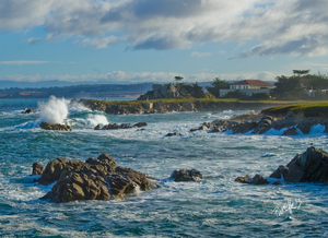 Storm Surf - Pacific Grove, CA - 15 x 11 Canvas Giclee
