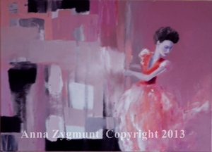 """""""Woman in Red"""" 2012, cm.50x70, oil on canvas"""