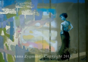 ON HER WAY, 2012, oil canvas, cm. 50x70