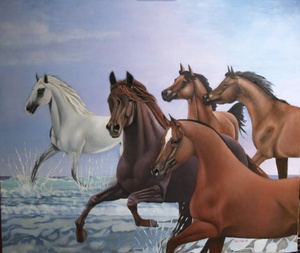 5 horses running in the sea