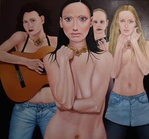 girlls, one with a guitar