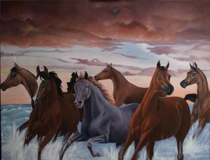 horses ubder morning clouds