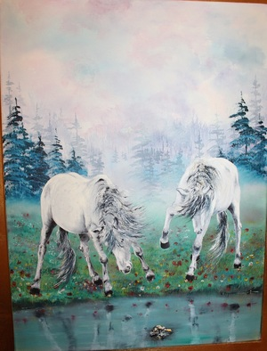 Horses by river